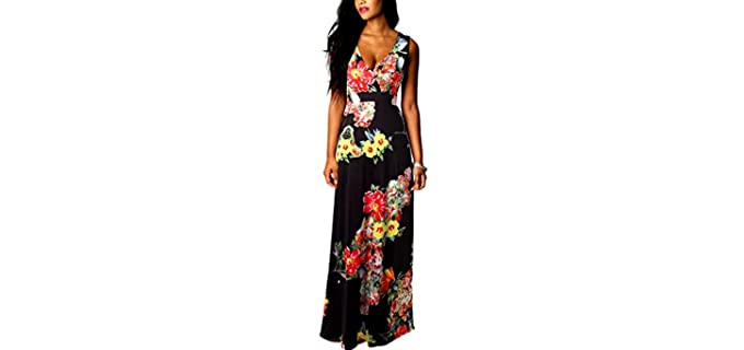Eyekepper Women's Floral Printing Dress - Dress for Apple Figures