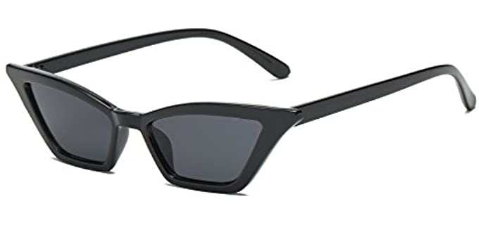 Feisedy Women's Small - Cat Eye Sunglasses for Round Faces