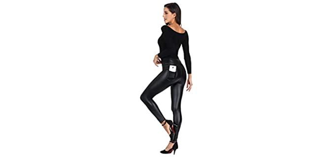 Mcedar Women's Plus Size - Faux Leather Leggings