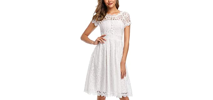 OWIN Women's Retro - Lace Dress for Apple Figures