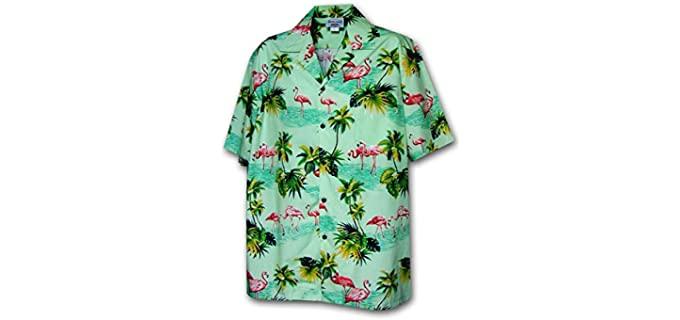 Pacific Legend Men's Flamingos - Flamingo Printed Hawaiian Shirt