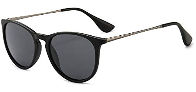 Sungait Women's Vintage - Round Sunglasses for Small Faces