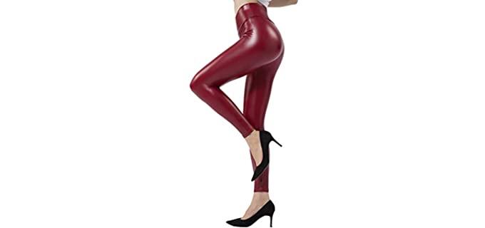 Tagoo Women's Stretchy - Leather Feel Leggings