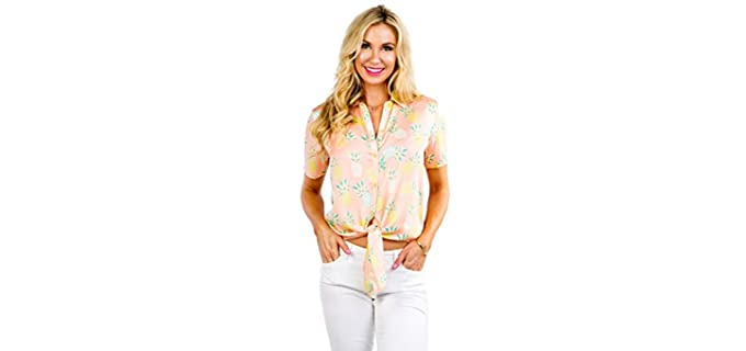 Tipsy Elves Women's Bright - Tropical Print Hawaiian Shirts