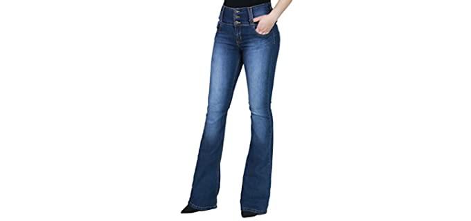 Fandsway Women's Flare - Comfortable Wear Jeans