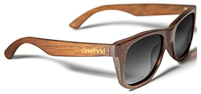 Cloudfield Unisex Wooden Sunglasses - Wayfarer Sunglasses for Small Faces
