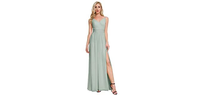 Alicepub Women's V-Neck - Maxi Dress to Wear to a Wedding