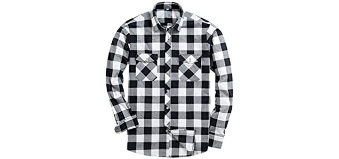 Alimens & Gentle Men's Flannel Casual Shirt - Button Down Long Sleeve