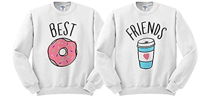 Best Friends Women's Donut Coffee - Duo Friends Sweat Shirt