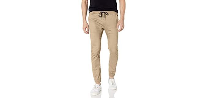 Brooklyn Athletics Men's Twill Jogger Pants - Slim Fit Trousers