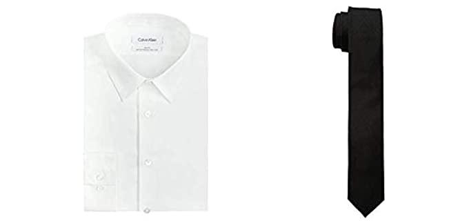 Calvin Klein Men's Slim Fit Dress Shirt - White Shirt & Skinny Tie Combo