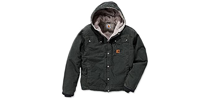 Carhartt Men's Sherpa J284 - Sandstone Hooded Multi Pocket Jacket