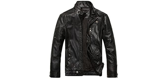 Chouyatou Men's Vintage - Brown Leather Jacket