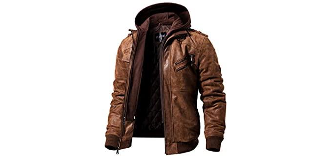 FLAVOR Men's Motorcycle - Brown Leather Jacket