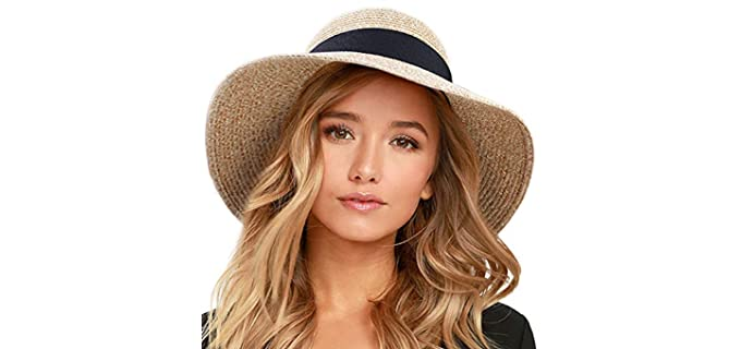 Furtalk Women's Beach - Straw Hat for Sun Protection