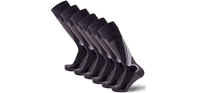 PureAthlete Unisex Wool Ski Socks - Long Ski Socks