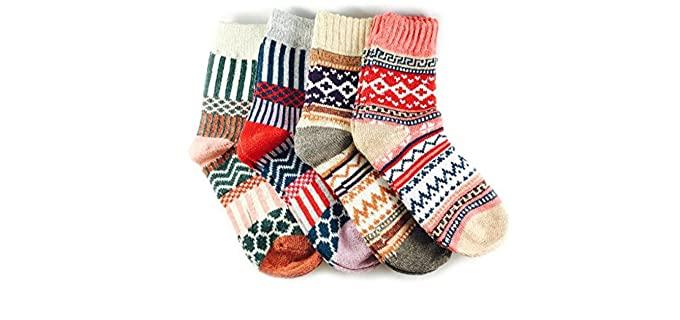 JOYCA & Co. Unisex Thick Fashion Socks - Warm Wool Socks