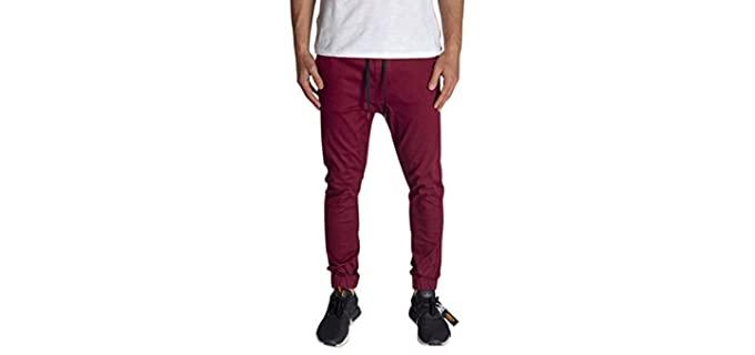 KDNK Men's Fit Stretch - Elastic Waist and Leg Drop Pants