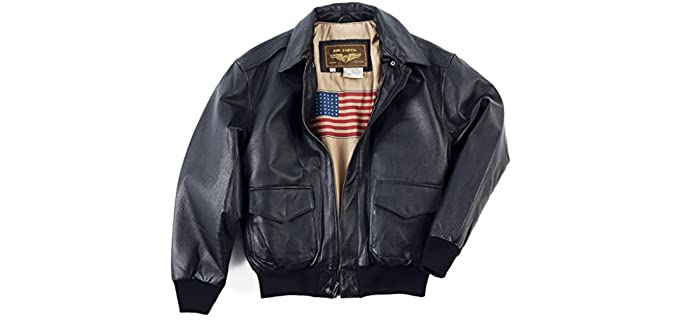 Landing Leathers Men's Air Force A-2 - Leather Flight Bomber Jacket