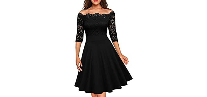 MISSMAY Women's Floral Lace - Half Sleeve Dress