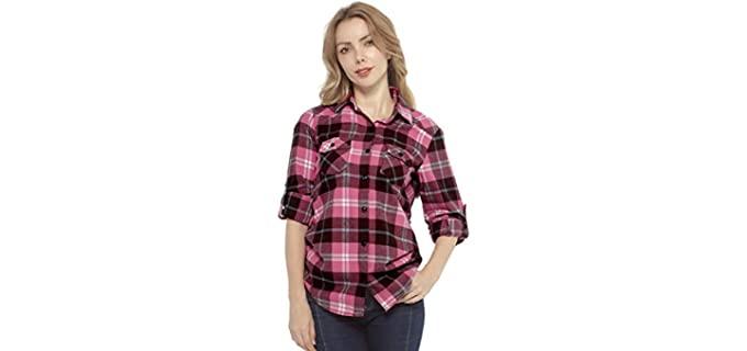 Match Women's Plaid - Long Sleeve Flannel Shirt