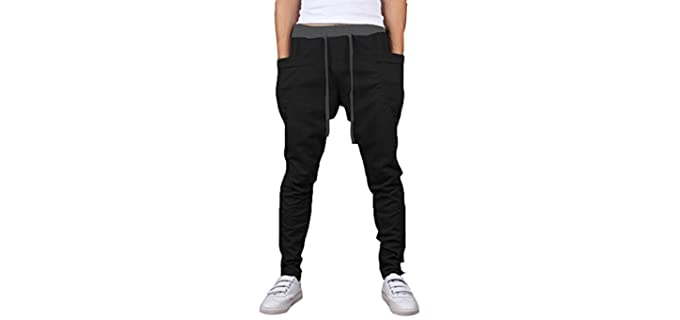 Mooncolour Men's Solid Colors - Casual Jogging Harem Pants with Pockets