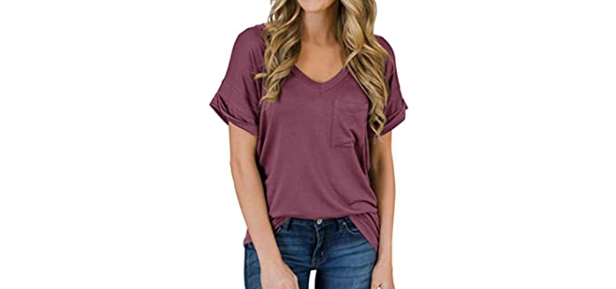 PrinStory Women's Casual Tops - V-Neck T-Shirt
