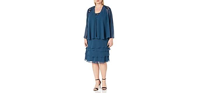 S.L. Fashions Women's Plus Size Sequins - Chiffon Jacket Dress