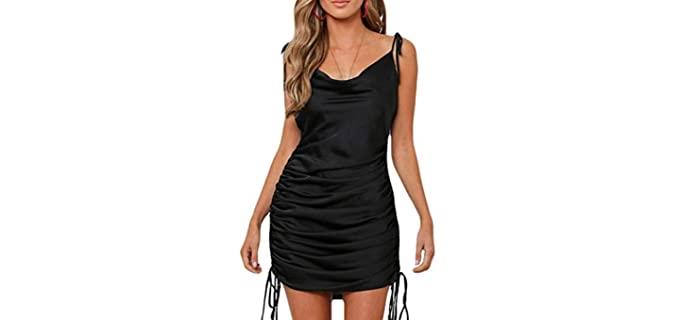 Satin Jacquard Women's Cowl Neck - Dress for Pear Shape