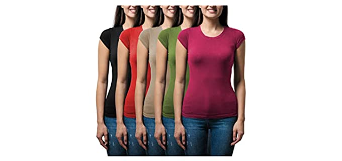 Sexy Basics Women's 5 Pack - Stretch Color T Shirts