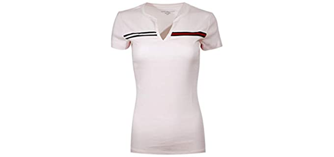 Tommy Hilfiger Women's Split-Neck - Dressy T-Shirt for Work