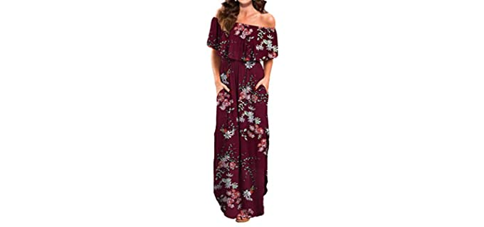 Verabendi Women's Summer Casual Long Dress - Off Shoulder Maxi Dress