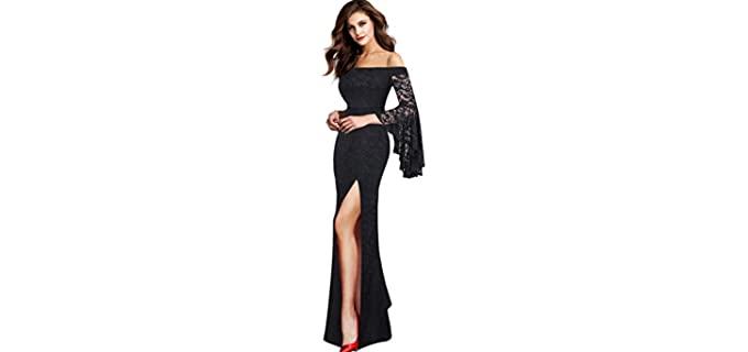 VFSHOW Women's Off Shoulder Bell Sleeve - Evening Maxi Dress