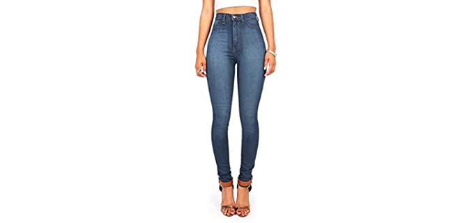 Vibrant Women's Juniors Classic - High Waist Denim Skinny Jeans