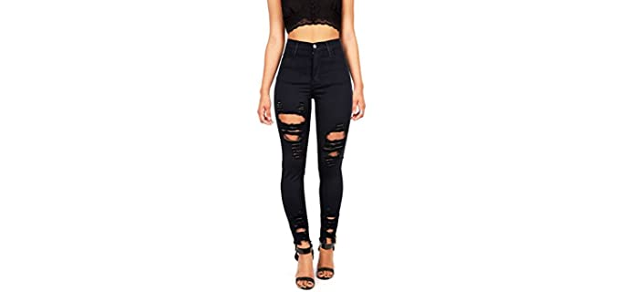 Vibrant Women's Juniors - High Rise Jeans with Heavy Distressing