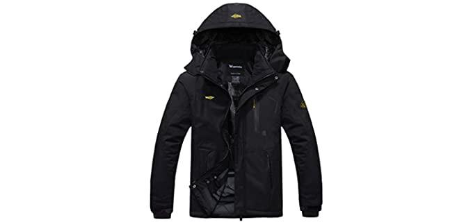 Wantdo Men's Waterproof Ski Jacket - Windproof Rain Jacket