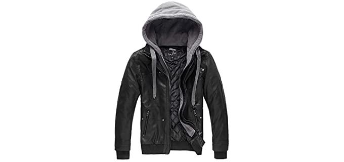 Wantdo Men's Motorcycle Jacket - Faux Leather Jacket