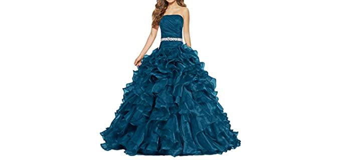 ANTS Women's Ball Gown Quinceanera - Best Ruffle Dress