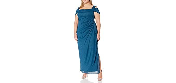 Alex Evenings Women's Plus Size Cold Shoulder Evening Dress - Plus Size Dress for Graduation