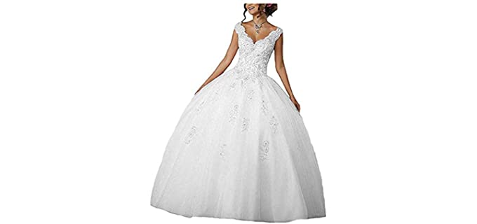 CharmingBridal Women's Ball Gown Quinceanera - Best White Quinceanera Dress