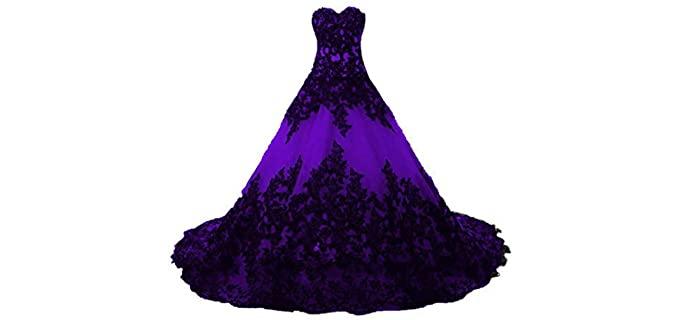 Dingzan Women's Black Applique - Lace Quinceanera Dress