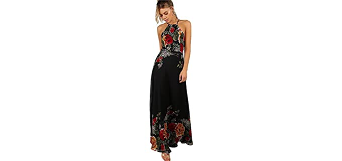 Women's Sleeveless - Halter Neck Maxi dress