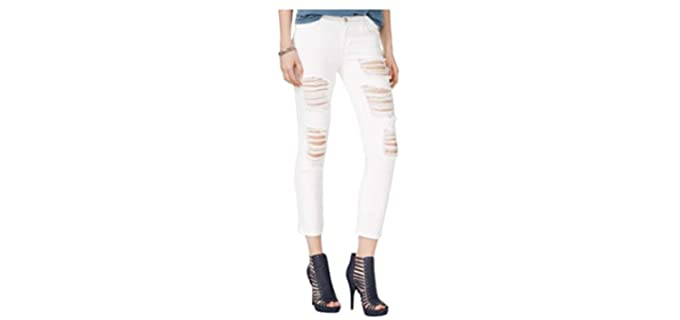 guess Women's Crop - Distressed Good Fitting Jeans