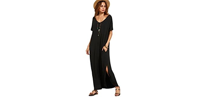 MakemeChic Women's Casual - Loose Fit Maxi Dress