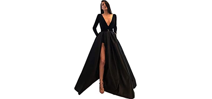 MariRobe Women's Split Dress - Long Dress with Slits on the Side