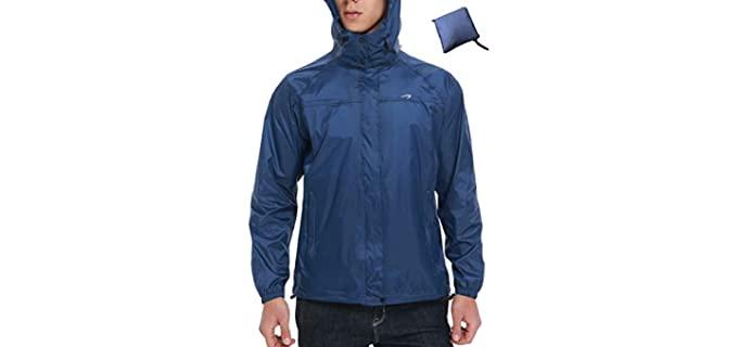 KPSUN Men's Waterproof - Lightweight Rain Jacket