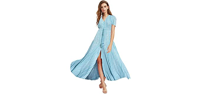Milumia Women's Button Up - Party Split Maxi Dress