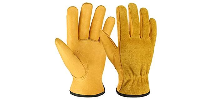 Ozero Men's Flex Grip - Leather Work Gloves