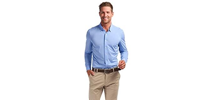Rhone Men's Casual Dress Shirt - Slim Fit Long Sleeve Dress Shirt