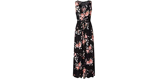 Zattcas Women's V-Neck - Maxi Dress
